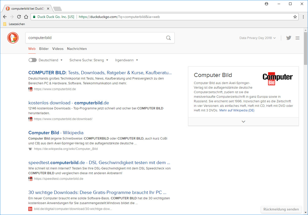 Screenshot 1 - DuckDuckGo