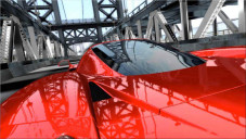 Project Gotham Racing 3: Das Heck des Ferrari Enzo auf der Brooklyn Bridge in New York in HDTV-Auflösung 1280 x 720 Pixel (720p).