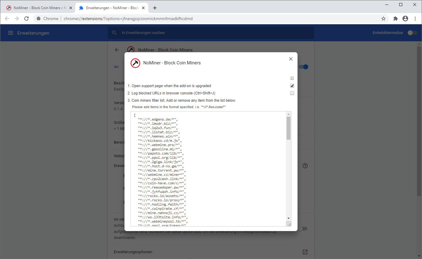 Screenshot 1 - NoMiner für Chrome