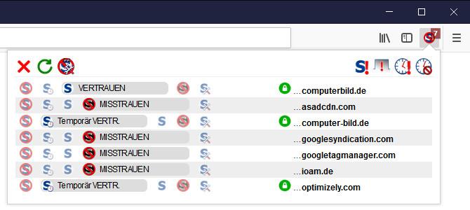 Screenshot 1 - NoScript für Firefox