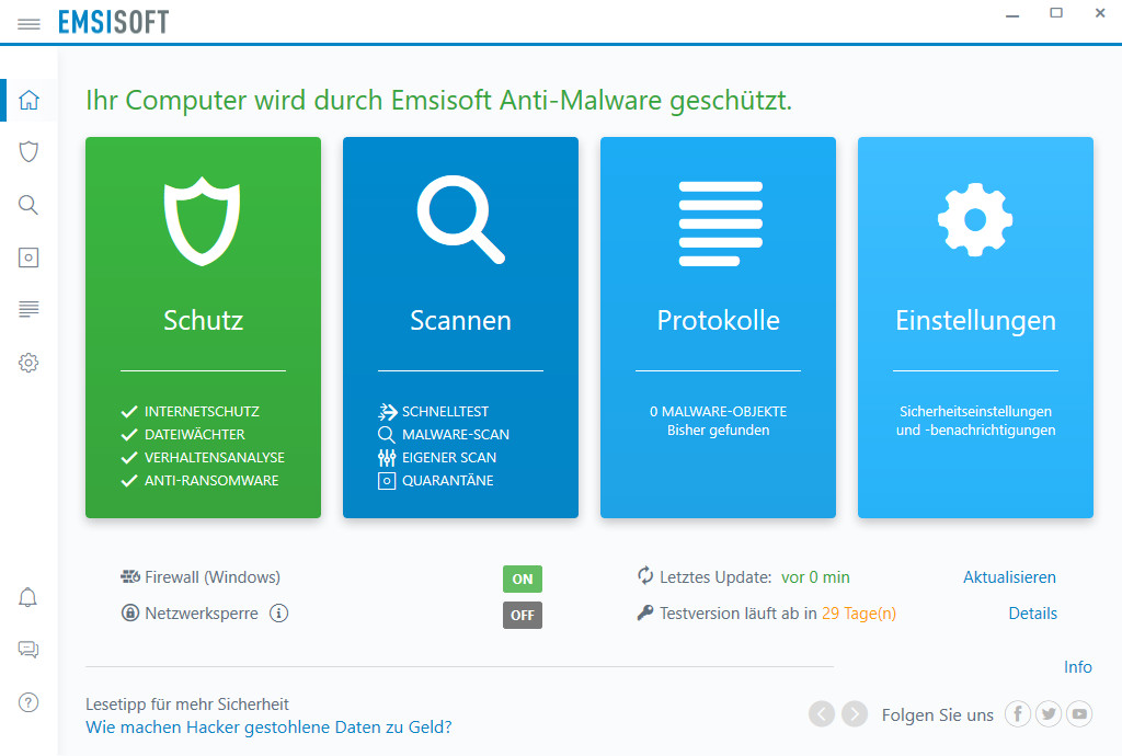 Screenshot 1 - Emsisoft Anti-Malware