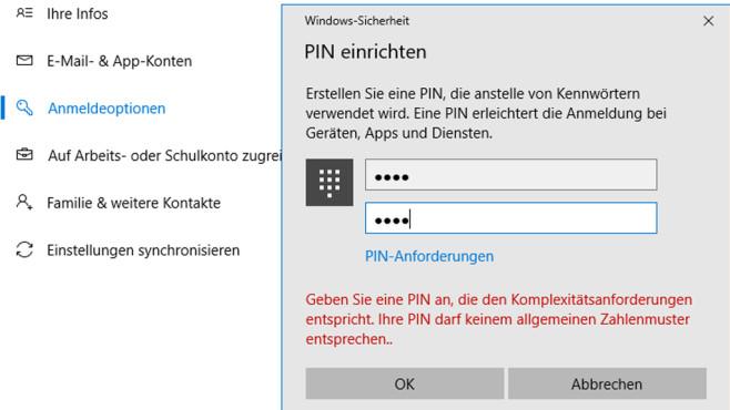 Windows 10 1607: Komplexe PIN-Codes erzwingen©COMPUTER BILD