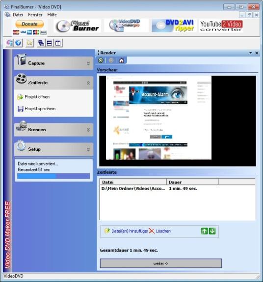 Screenshot 1 - Video DVD Maker Free