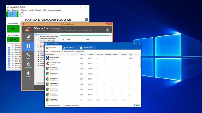 Neuware gebraucht? Diese Windows-Tools checken es©CrystalDiskInfo, Piriform, Wisecleaner