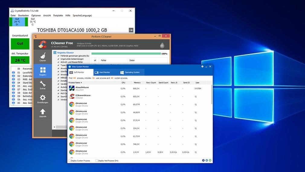 Neuware gebraucht? Windows-Tools checken es Onlineshops beliefern manche Kunden nicht mehr, wenn sie zu oft vom Widerrufsrecht Gebrauch gemacht haben. Zurückgesendete intakte Ware geht dann als neuwertig an die nächsten Kunden.©CrystalDiskInfo, Piriform, Wisecleaner