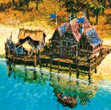 Anno 1701: Idylle pur: Ihr Kontor liegt im hellen Sonnenschein. Ein Fischer sorgt sich um die Nahrung.