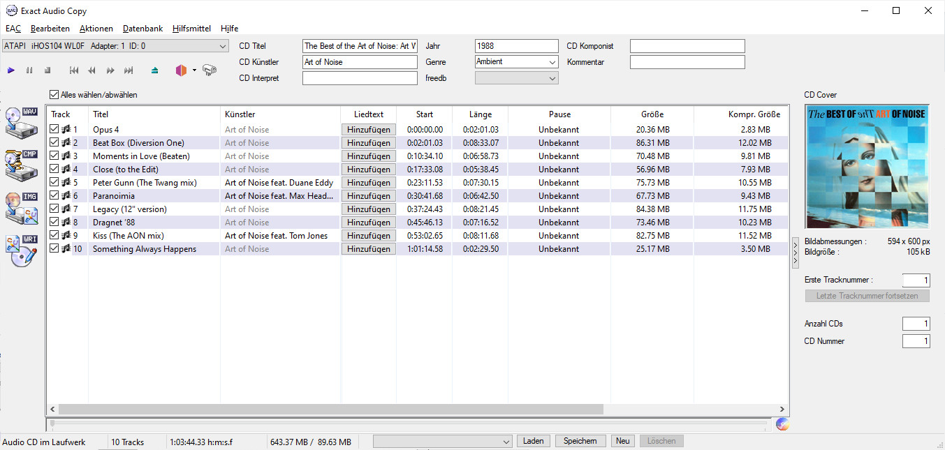 Screenshot 1 - Exact Audio Copy (EAC)