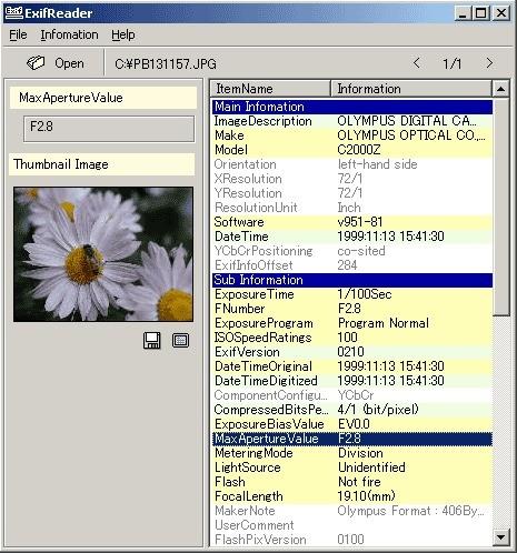 Screenshot 1 - Exif Reader