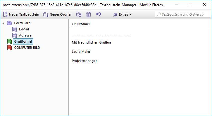 Screenshot 1 - Clippings für Firefox