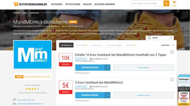 Cashback bei MandMDirect©Gutscheinsammler.de