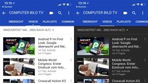 YouTube für iOS: Helles und dunkles Design©COMPUTER BILD