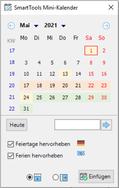 Screenshot 1 - SmartTools Mini-Kalender 2021 für Excel