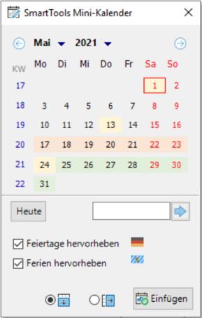 SmartTools Mini-Kalender 2021 für Excel