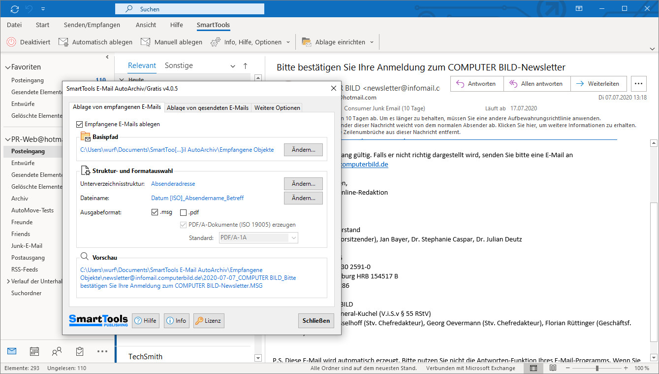 Screenshot 1 - SmartTools E-Mail-AutoArchiv für Outlook