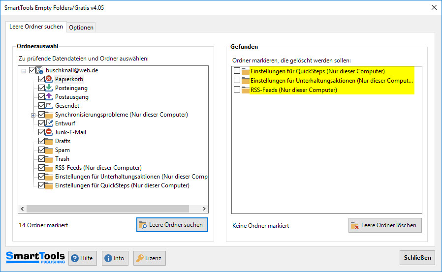 Screenshot 1 - SmartTools Empty Folders für Outlook