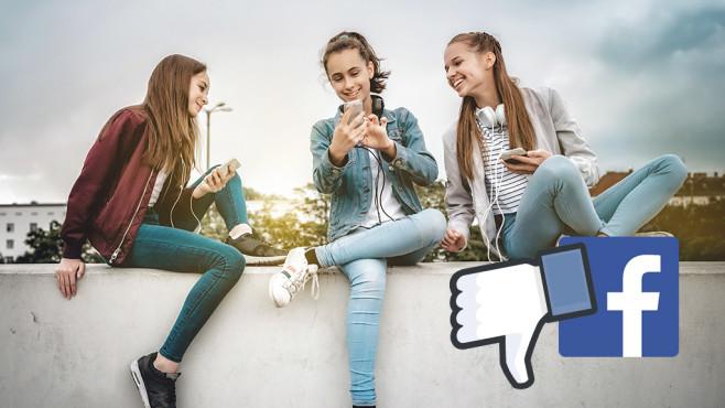 Jugendliche und Facebook-Daumen-runter©Facebook, iStock.com/golero