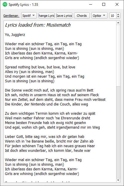 Screenshot 1 - Spotify Lyrics für PC