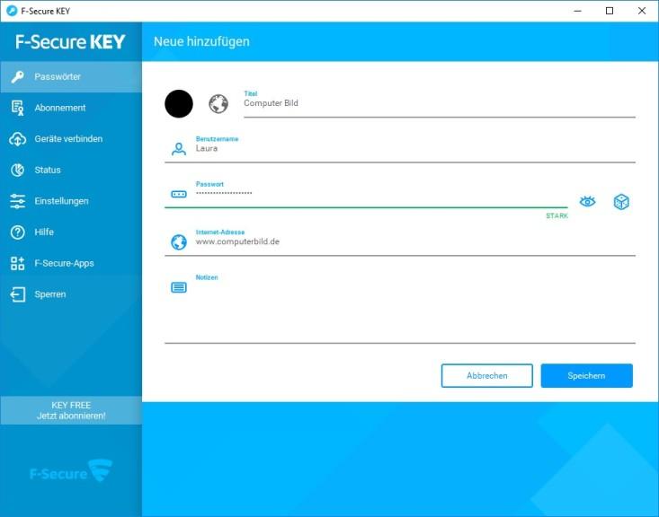 Screenshot 1 - F-Secure Key