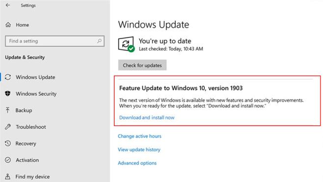 Windows 10: Updates auswählen©Microsoft