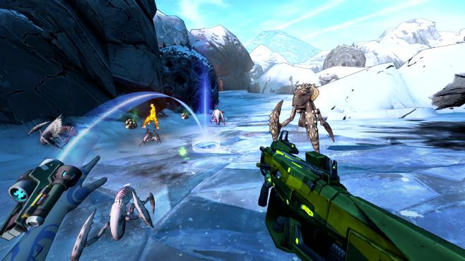 """PSVR: Sony setzt 2018 auf Spielevielfalt In """"Borderlands 2"""" darf nun auch wieder in VR geballert werden.©2K"""