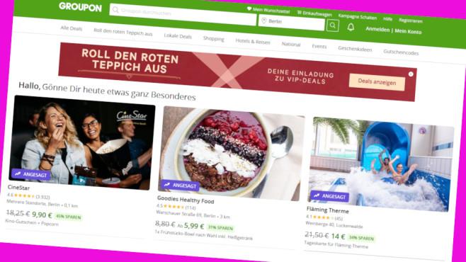 Groupon: Extra-Rabatt auf viele Deals ergattern©PR/Screenshot www.groupon.de