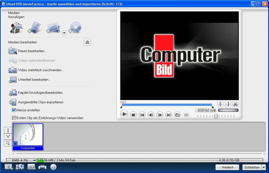Screenshot 1 - Ulead FilmBrennerei 6 Plus