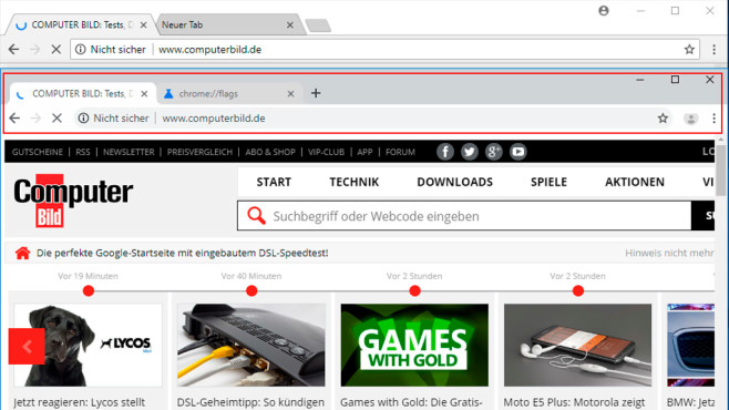 Google Chrome Canary: Altes vs. neues Design (Refresh) © COMPUTER BILD