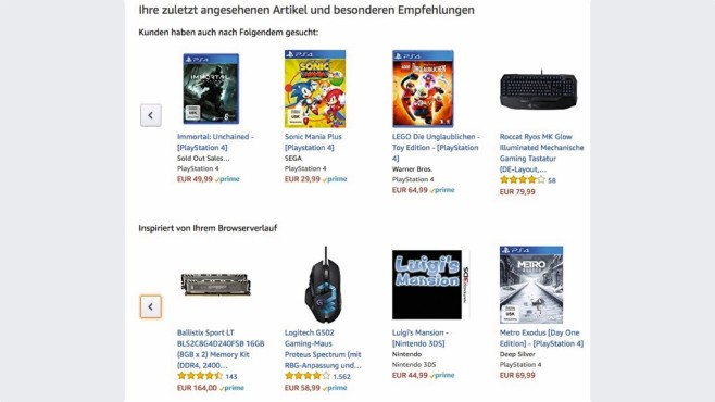Amazon: Interessen © COMPUTER BILD