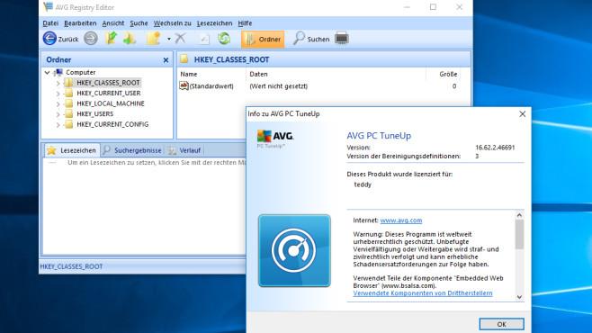 Alternative: AVG Registry Editor ©COMPUTER BILD