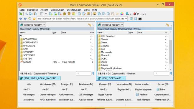 Dateimanager und Registry-Editor: Multi Commander ©COMPUTER BILD
