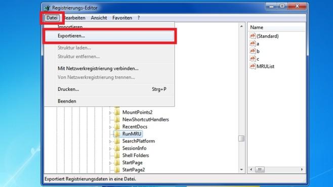 Registry-Schlüssel sichern ©COMPUTER BILD