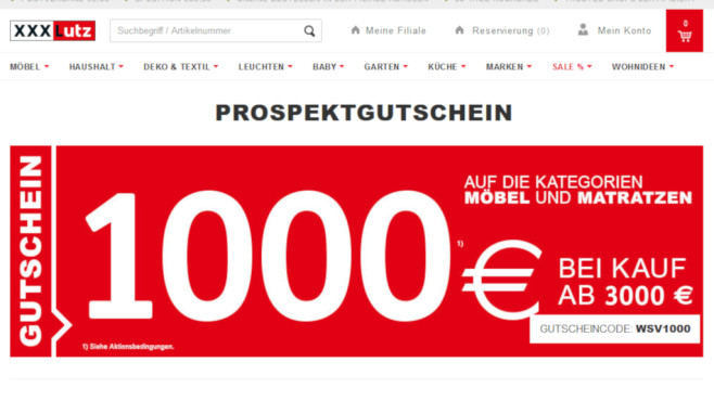 Gutscheinaktion 1000 Euro Rabatt Bei Xxxlutz Computer Bild