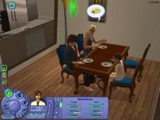Die Sims 2: Die Sims-Kleinfamilie beim gemeinsamen Frühstück.