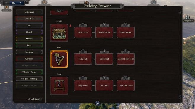 Total War Saga – Thrones of Britannia: Building Browser©Sega/Creative Assembly