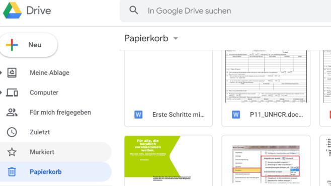 Google Drive: Onlinespeicher inklusive Papierkorb ©COMPUTER BILD