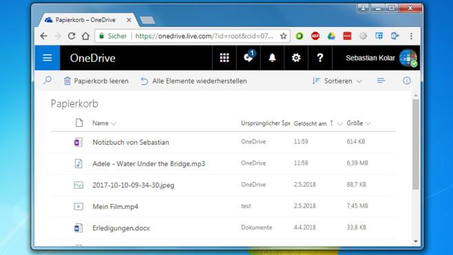 OneDrive: Onlinespeicher inklusive Papierkorb ©COMPUTER BILD