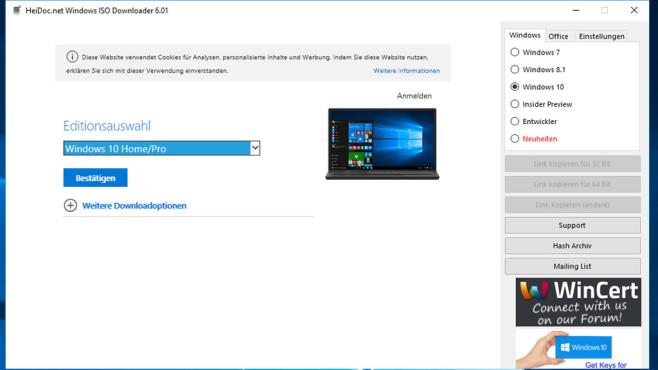 Windows ISO Downloader: Rettungsdatenträger erstellen ©COMPUTER BILD