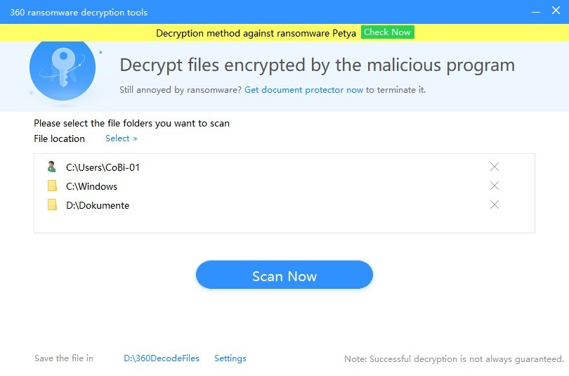 Screenshot 1 - 360 Ransomware Decryption Tool