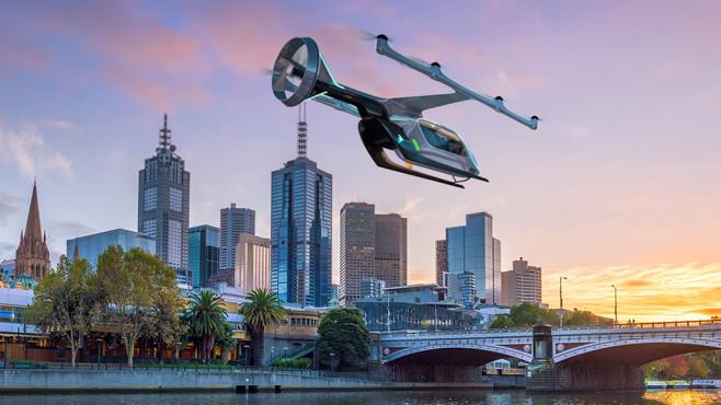 Uber-Flugtaxi über Melbourne, Australien©Uber / Amelia Banks (Sling & Stone)