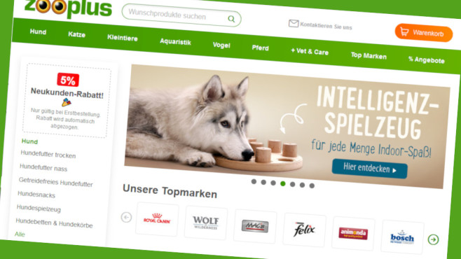Exklusiv-Rabatt bei Zooplus©Screenshot www.zooplus.de