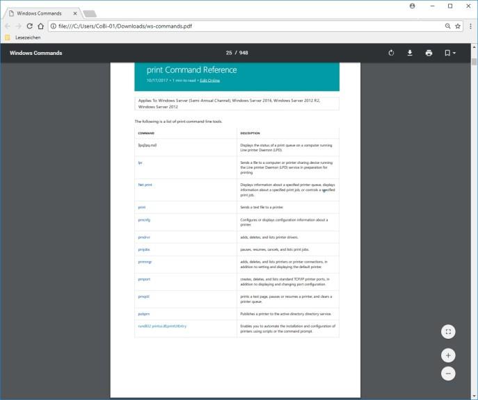 Screenshot 1 - Windows Commands Reference: Alle Kommandozeilen-Befehle von Microsoft als PDF