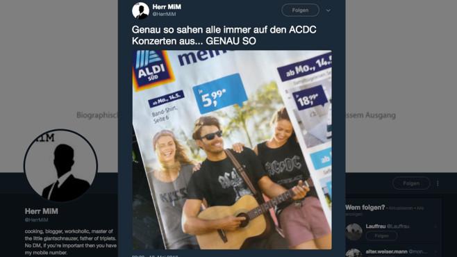 Ist das noch Hard-Rock? Das Netz lacht über Aldi Süd Die Vermarktung von Bandshirts seitens Aldi Süd sorgt im Netz für Verwunderung.©Twitter, @HerrMiM