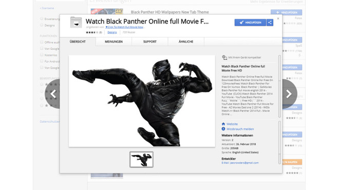 Black Panther im Web Store © Google Chrome Web Store