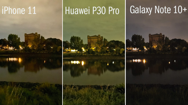 Nachtmodus: iPhone 11 vs. Huawei P30 Pro vs. Samsung Galaxy Note 10 Plus © COMPUTER BILD