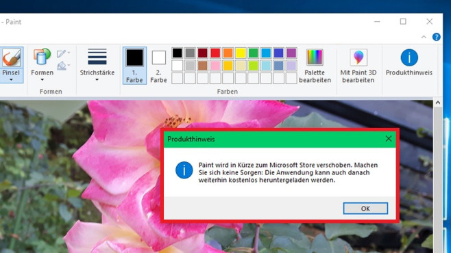 Windows 10 1803: Zwei neue Funktionen für Paint©COMPUTER BILD