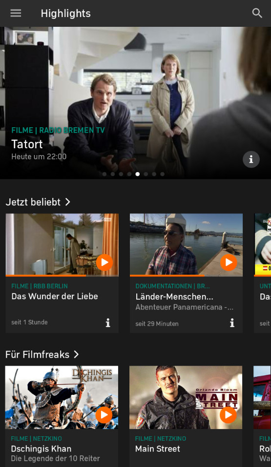 Screenshot 1 - Zattoo Live TV (Android-App)