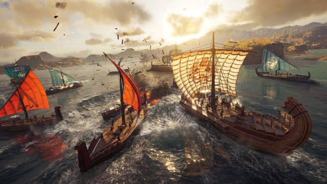 Assassin's Creed – Odyssey angespielt: Auf zu neuen Ufern! Oft ist eine Bootsfahrt der schnellste Weg in der von Inseln übersäten Spielwelt von A nach B zu gelangen. Nachteil: Piraten und andere, schlecht gelaunte Seefahrer lauern überall.©Ubisoft