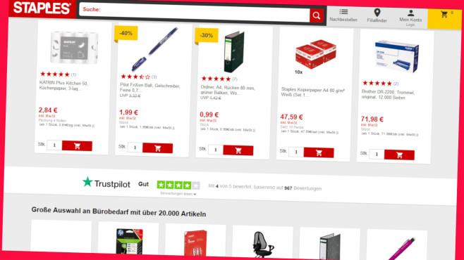 Schnäppchen bei Staples©Screenshot www.staples.de