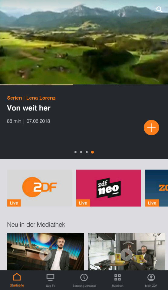 Screenshot 1 - ZDFmediathek & Live TV (Android-App)