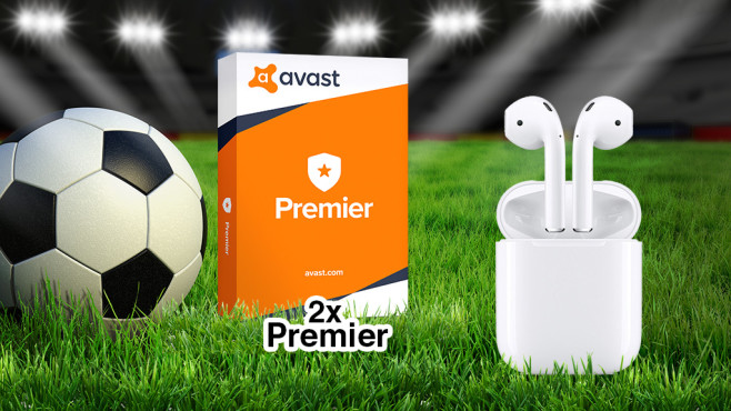 Apple Airpods, Avast Premier, SecureLine VPN © iStock.com/Thomas-Soellner, Avast, Apple